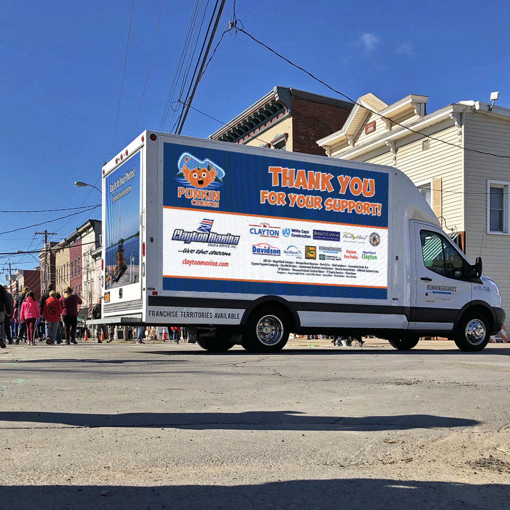 DAV (our Digital Advertising Vehicle) at the 8th Annual Punkin' Chunkin', parked at the storefront end of Riverside Drive.